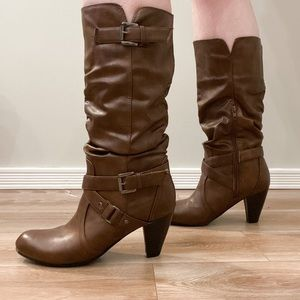 Ardene Ruched Faux Leather Boots Size 8